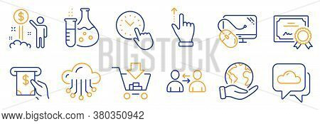 Set Of Business Icons, Such As Weather Forecast, Cloud Storage. Certificate, Save Planet. Communicat