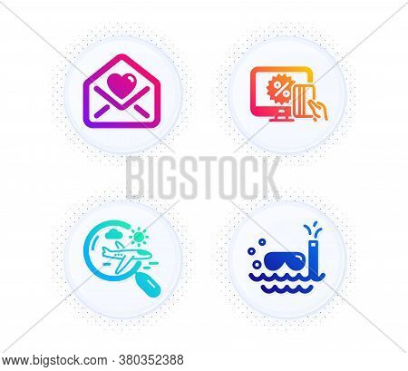 Love Letter, Search Flight And Online Shopping Icons Simple Set. Button With Halftone Dots. Scuba Di