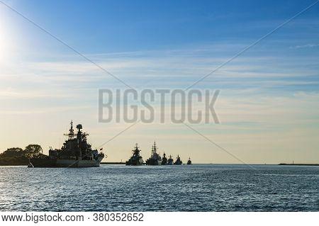 Warships On The Roadstead, Ships In The Baltic Sea, Baltiysk, Kaliningrad Region, Russia, July 19, 2