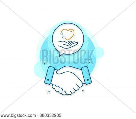 Care Love Emotion Sign. Handshake Deal Complex Icon. Hold Heart Line Icon. Valentine Day Symbol. Agr