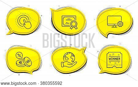 Currency Exchange Sign. Diploma Certificate, Save Planet Chat Bubbles. Monitor Settings, Winner Tick