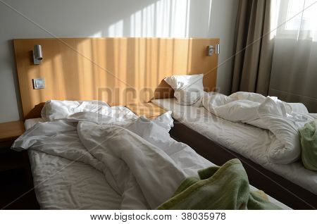 Unfilled Bed In Motel Room