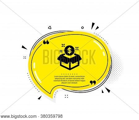 Post Package Icon. Quote Speech Bubble. Paid Service Sign. Quotation Marks. Classic Post Package Ico