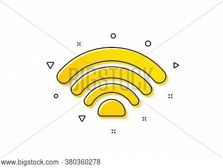 Wi-fi Internet Sign. Wifi Icon. Wireless Network Symbol. Yellow Circles Pattern. Classic Wifi Icon.
