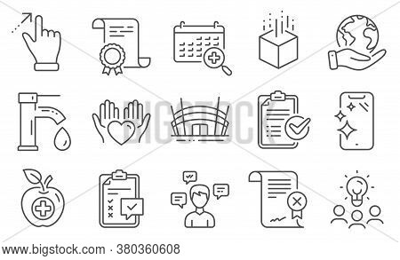 Set Of Business Icons, Such As Touchscreen Gesture, Medical Food. Diploma, Ideas, Save Planet. Check