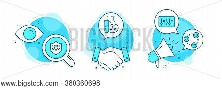Chemistry Flask, Dj Controller And Eye Protection Line Icons Set. Handshake Deal, Research And Promo