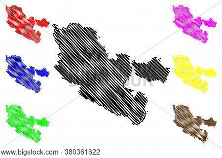 Moselle Department (france, French Republic, Grand Est Region) Map Vector Illustration, Scribble Ske