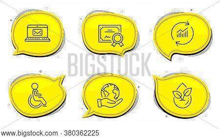 Disabled Sign. Diploma Certificate, Save Planet Chat Bubbles. Organic Product, E-mail And Update Dat