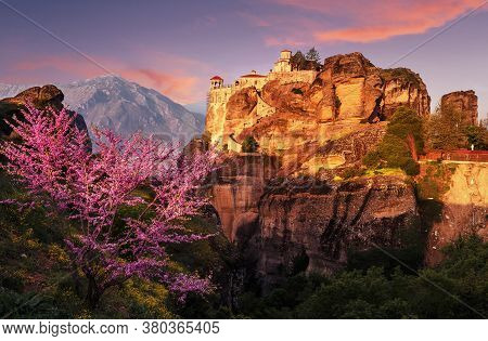 Scenic Image Of Spring Landscape Monastery Meteora Greece. Stunning Spring Panoramic Landscape. View