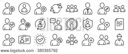 Profile, Group Of People And Support Signs. Users Line Icons. Id Card, Teamwork People And Businessm