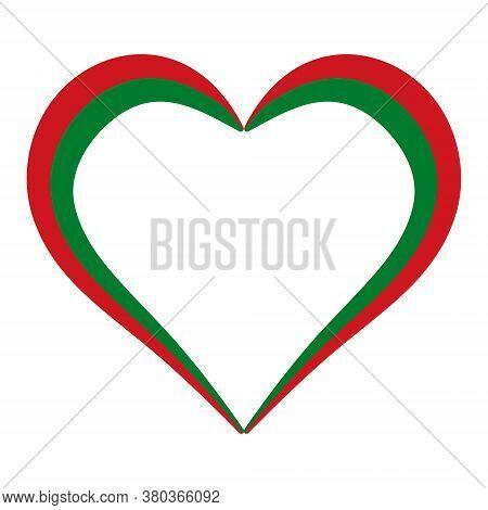 Heart Shape Flag Belarus, Vector I Love Belarus, Outline Calligraphy Heart Color Flag