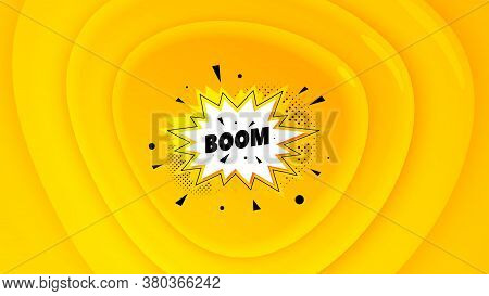 Boom Sale Badge. Geometric Plastic Design Banner. Discount Banner Shape. Coupon Bubble Icon. Orange