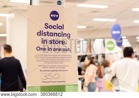 Sydney, Australia - 2020-04 Social Distancing Rules At Bigw Miranda Department Store. Covid-19 Measu