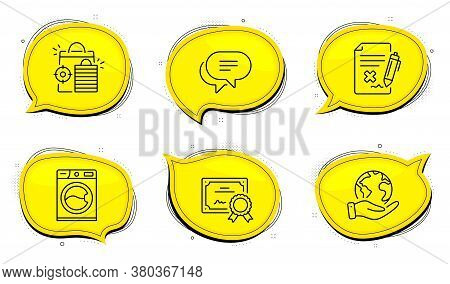 Text Message Sign. Diploma Certificate, Save Planet Chat Bubbles. Reject File, Seo Shopping And Wash