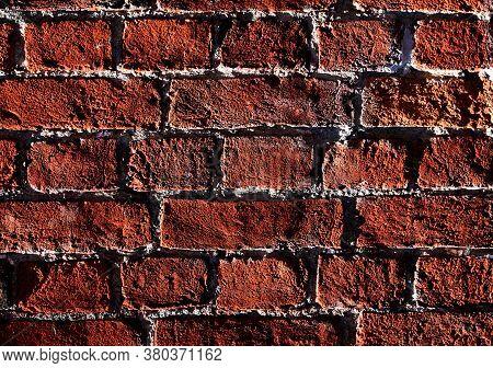 Abstract Brown Brick Wall Texture Background. Brickwork Close-up.