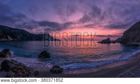 Incredible Picturesque Seascape During Sunset, Awesome Nature Landscape. Dramatic Colorful Sky Over