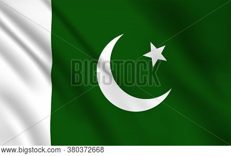 Pakistani Flag, Pakistan Country National Identity, Vector Design White Moon And Star On Green Backg