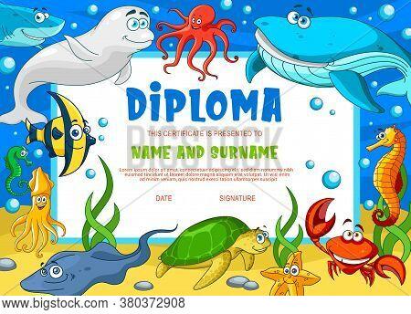 Kids Diploma With Underwater Animals. Kindergarten Vector Certificate With Cute Cartoon Starfish, Sq