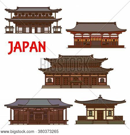 Japanese Temples, Shrines And Japan Pagodas In Kyoto Architecture Landmarks, Vector Houses. Ryoan-ji