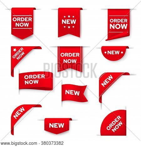 Order Now Red Vector Banners, Ribbons, Web Design Elements, Bookmarks. Realistic Corners, Isolated 3