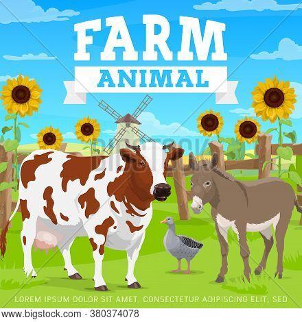 Farm Animals, Agriculture Gardening And Farming, Cattle Field, Vector Modern Village Field. Organic