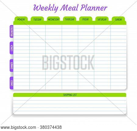 Weekly Meal Planner, Vector Timetable, Week Food Plan Organizer. Calendar Menu For Breakfast, Lunch,