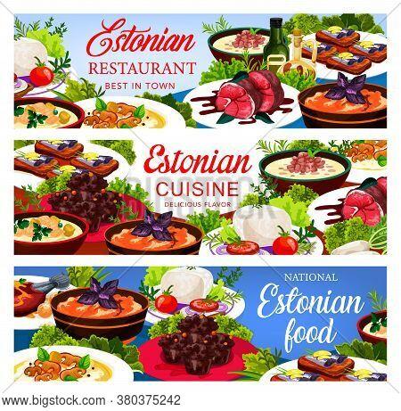 Estonian Cuisine Vector Food Pork Mulqi, Milk Fish Soup And Syir, Homemade Sprat, Dark Beer Pork Roa