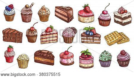 Cakes, Cheesecakes And Dessert Sweets Cupcakes Sketch, Vector Icons. Bakery And Pastry Shop Sweet Ch