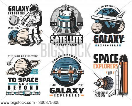 Galaxy Exploration, Deep Space Discovery Icons. Astronaut In Outer Space, Artificial Satellite And S