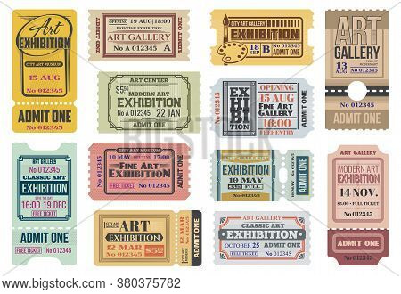 Art Gallery, Exhibition Tickets, Admits To Event, Vector Vintage Paper Coupons Templates. Modern Art