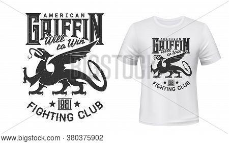 Griffin Mascot T-shirt Print Vector Mockup. Gryphon Animal, Majestic Creature Griffon, Fairytale Mon