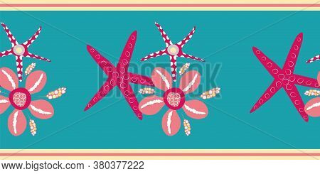 Starfish And Cowrie Shell Vector Border. Luxurious Pink And Aqua Blue Banner With Gold Edging. Hand