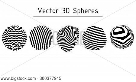 Set Of Striped Illusion Spheres. Abstract 3d Black And White Illusions. Vector Illustration.