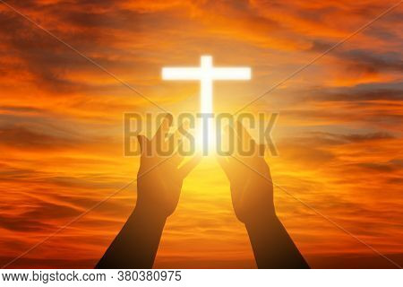 Human Hands Open Palm Up Worship. Eucharist Therapy Bless God Helping Repent Catholic Easter Lent Mi