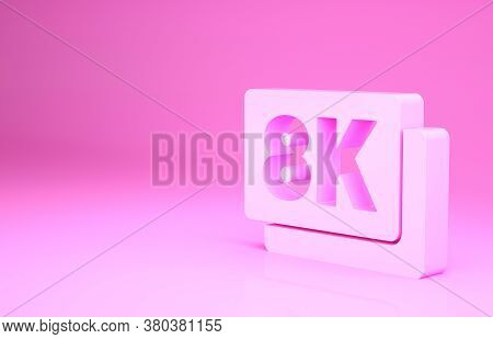 Pink 8k Ultra Hd Icon Isolated On Pink Background. Minimalism Concept. 3d Illustration 3d Render