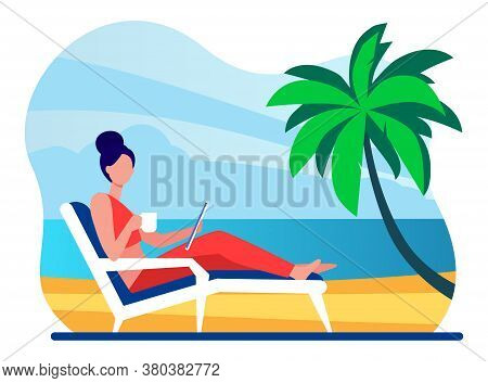 Woman Sitting On Beach Chair By Sea. Drinking Coffee, Using Tablet, Tropical Resort Flat Vector Illu