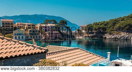 Assos Village And Beautiful Sea Bay, Kefalonia Island, Greecewonderful Summer Seascape Of Ionian Sea