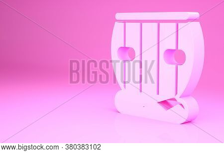 Pink Indian Musical Instrument Tabla Icon Isolated On Pink Background. Minimalism Concept. 3d Illust
