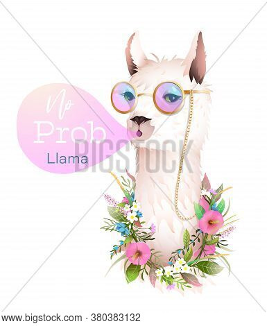 No Prob Says Hipster Lama Blowing Bubble From Chewing Gum, Trendy Quote T Shirt Design With Hipster