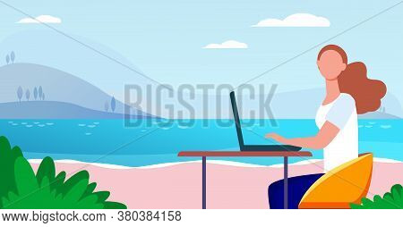 Freelance Woman Working By Sea. Girl Using Laptop At Table Outdoors Flat Vector Illustration. Outdoo
