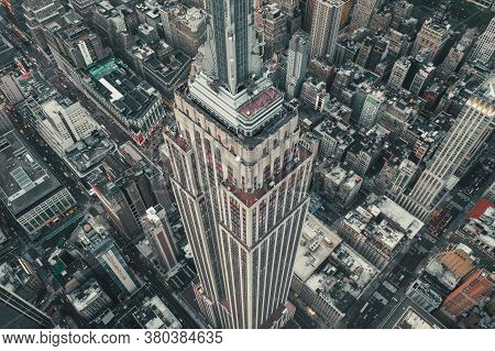 Circa September 2019: Breathtaking Overhead Aerial View Of Empire State Building In Manhattan, New Y