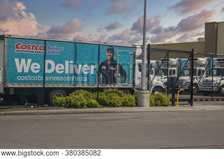 Toronto, Canada, April 2020 - Costco Delivery Trucks At A Large Scarborough Warehouse In Toronto