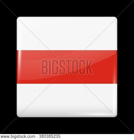 Belarus. Historical White-red-white Flag. Glossy Icon Square Shape. Vector Button