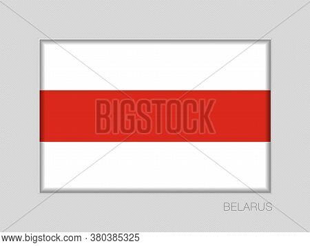 Belarus. Historical White-red-white Flag. National Ensign Aspect Ratio 2 To 3 On Gray Cardboard
