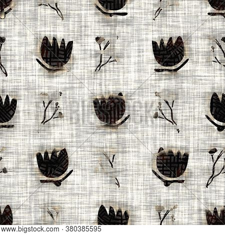 Seamless Floral Sepia Grunge Print Texture Background. Worn Mottled Flower Bloom Pattern Textile Fab