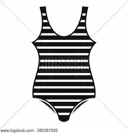 Woman Striped Swimwear Icon. Simple Illustration Of Woman Striped Swimwear Vector Icon For Web Desig