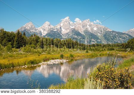 Mountain Landscape Reflection In The River At Schwabacher's Landing In Grand Teton National Park, Wy