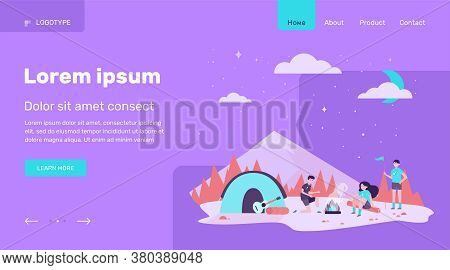 Children At Campfire In Mountain Forest Flat Vector Illustration. Cartoon Scouts Camping, Sitting Ne