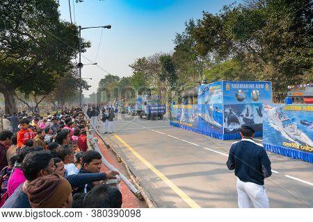 Kolkata, West Bengal, India - 26th January 2020 : Visitors Watching Indian Navy Displaying Model Sub