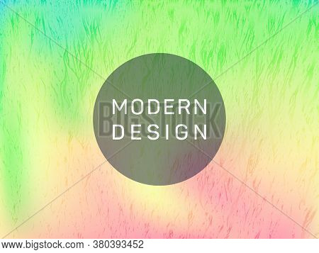 Chrome Poster Glitch Holographic Vector Layout Design. Abstract Graphic Design Elements. Glamorous G